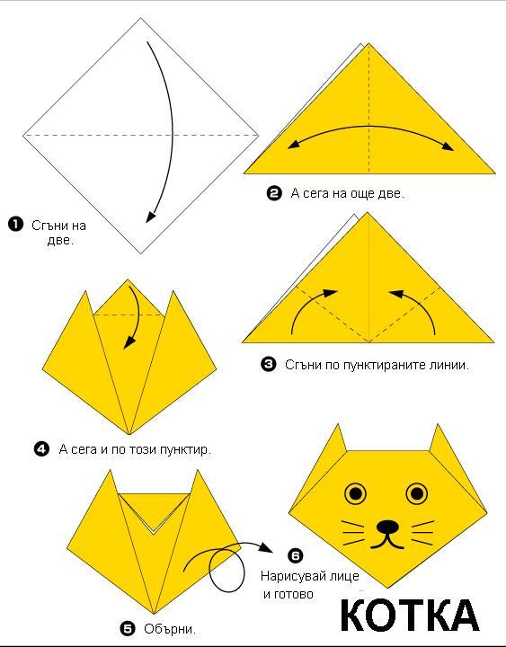 Оригами как сделать кошку из бумаги